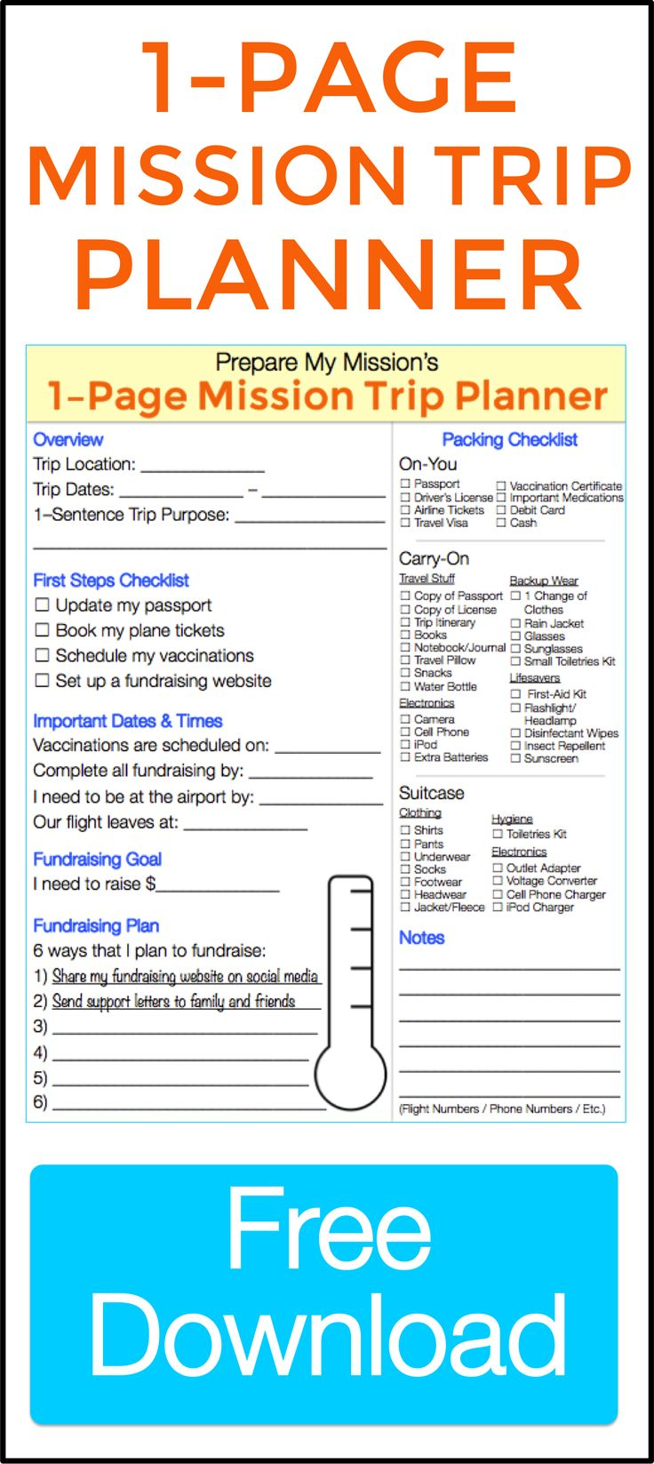 Keep track of all your mission trip details at a glance.