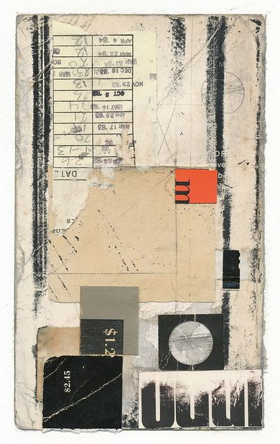Mixed media, layered materials, black and white, colorful accent, organic elements.