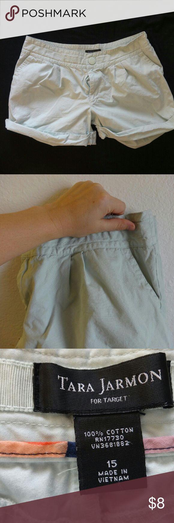Tara Jarmon Mint Shorts Small yellow stain on one leg. Very cute mint cuffed shorts. Tara Jarmon Shorts