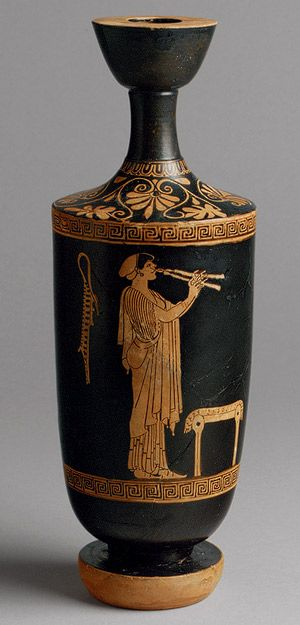 Lekythos, ca. 480 b.c.; red–figure Attributed to the Brygos Painter Greek, Attic ~ The aulos, commonly mistaken as a flute, was more akin to the oboe or clarinet, as the reed mouthpiece was inserted into a cylindrical pipe. The instrument was constructed of two such pipes, made of reed, wood, bone, or ivory, that were played simultaneously