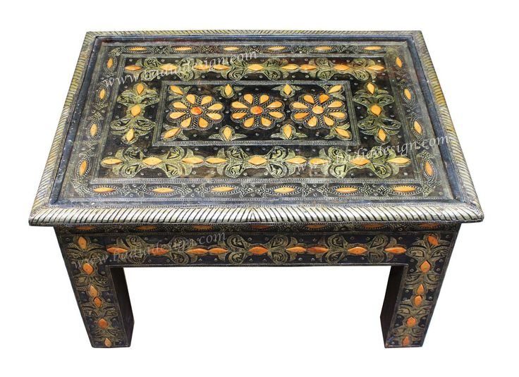 Metal And Bone Coffee Table With Glass Top   MB CT006
