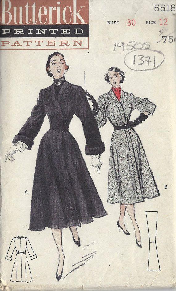 1949 Vintage Sewing Pattern B30 COAT (1371) Butterick 5518