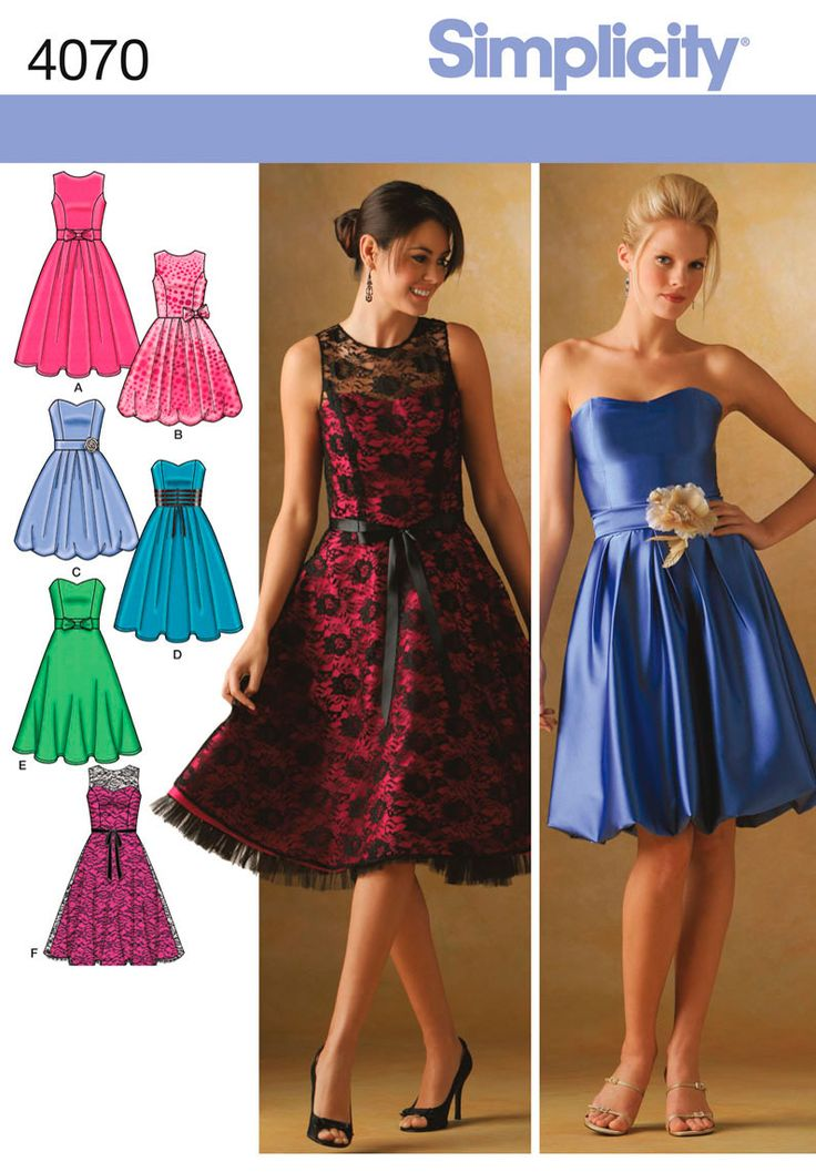 Womens and Petite Cocktail Dress Sewing Pattern 4070 Simplicity