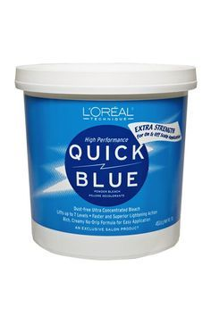 The Right Way To Bleach Your Hair At Home #refinery29  http://www.refinery29.com/how-to-bleach-hair#slide3  Step 3: Bleach  One of the most trusted bleaches — L'Oréal Quick Blue Powder — is also extremely cost-effective. Mix it in a bowl with some developer, which will lift hair color quickly and drastically, until the formula is about the consistency of yogurt. Darling recommends using a 30-volume developer. 