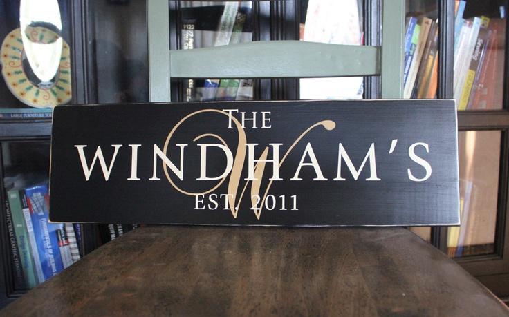 Personalized Family Name Sign Plaque Custom Wood: The Sophisticate. $28.00, via Etsy.
