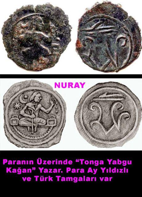 Üzerinde, Türk Sogd Kağan Tonga Yagbu Kağan, yazan Para..7-8.yy. Ay Yıldız ve Türk Tamgaları ile.