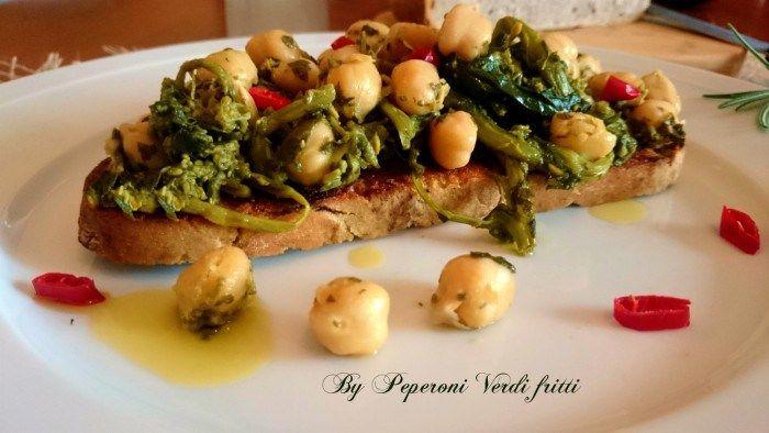 Crostone di pane alle castagne con friarelli e ceci - Ricette Blogger Riunite