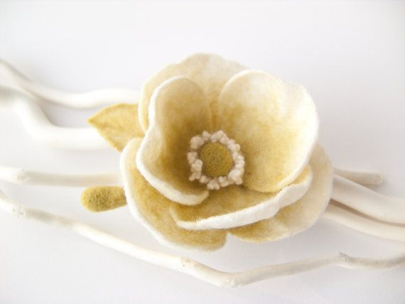 White and Green / Pistachio Flower  Felted Brooch by felttess, $25.00