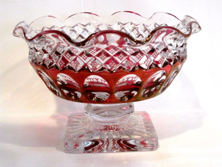 Westmoreland Cranberry Red Crystal Ruffled Footed Bowl #WakefieldPattern