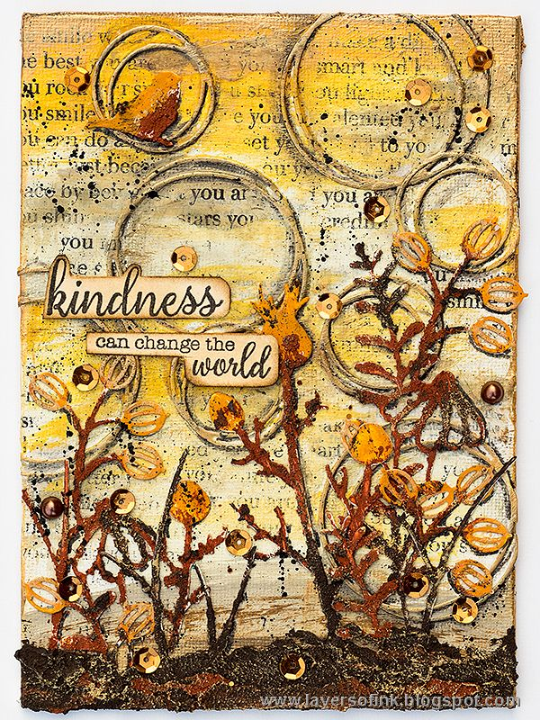 Layers of ink - Winter Plants Mixed Media Canvas by Anna-Karin. Made for the Simon Says Stamp Monday Challenge Blog, using SSS exclusive dies and stamps. Rust Paste by Prima Flowers and Finnabair, and paints by Ranger ink.