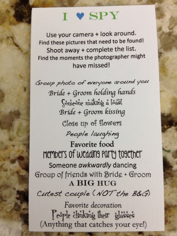 Have your guests play I SPY with disposable cameras at your wedding. Looooooove this idea.