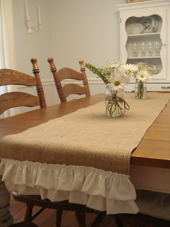 burlap and ruffles table runner...this would be cute for a wedding as well