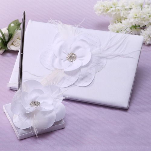 Guest Book and Pen Set with Flowers and Diamantes