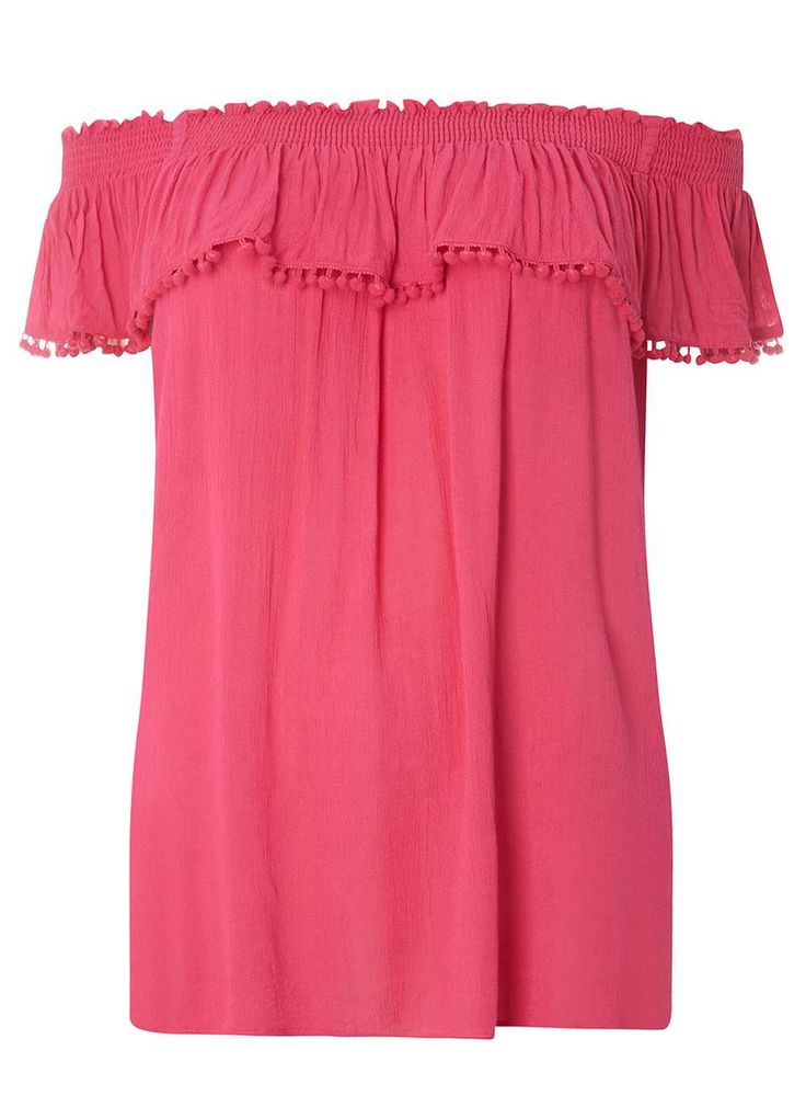 Womens DP Curve Plus Size Pink Pom Pom Detail Bardot Top- Pink