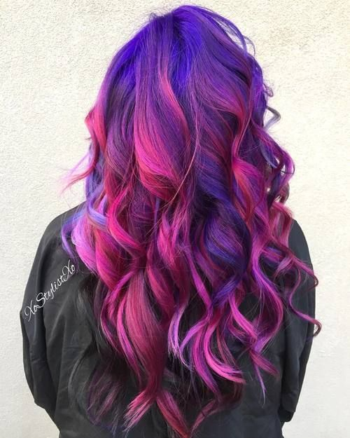 Blue+And+Pink+Hair+Color #reference #evergreenbeautycollege #creativity