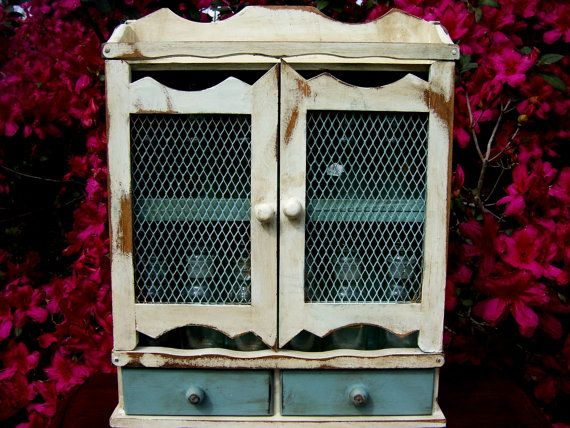 Vintage Spice Rack Distressed Chicken Wire Wood French
