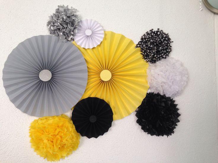 Party/ amarillo/ blanco y negro/ decoración party/ decoración fiesta hombre/
