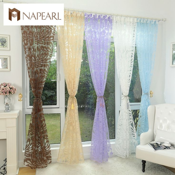 Floral design blue curtain tulle fabrics sheer curtains for bedroom window sheer curtain panels floral curtain transparent drape #clothing,#shoes,#jewelry,#women,#men,#hats,#watches,#belts,#fashion,#style