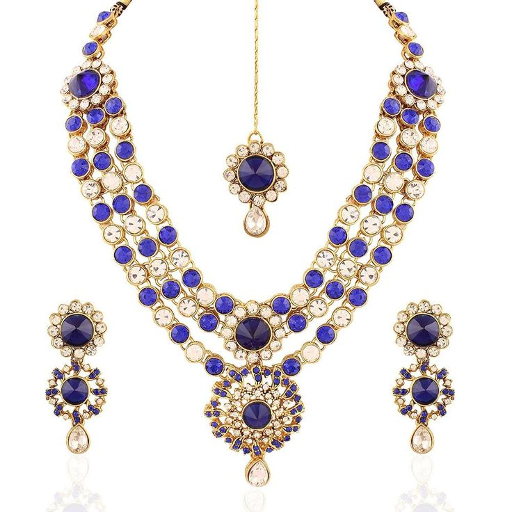 Elegant Party Wear Ethnic Blue Stone Kundan Women Bollywood Indian jewelry Set #natural_gems15 #GoldPlated