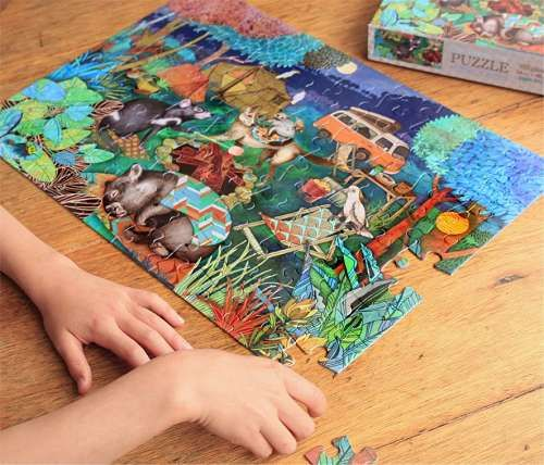 Beautifully illustrated 100 piece puzzle - Toast some marshmallows over the campfire with Wombat, Dingo, Possum, Pardalote (bird), cockatoos and Tasmanian Devil, and then snuggle up under the stars.