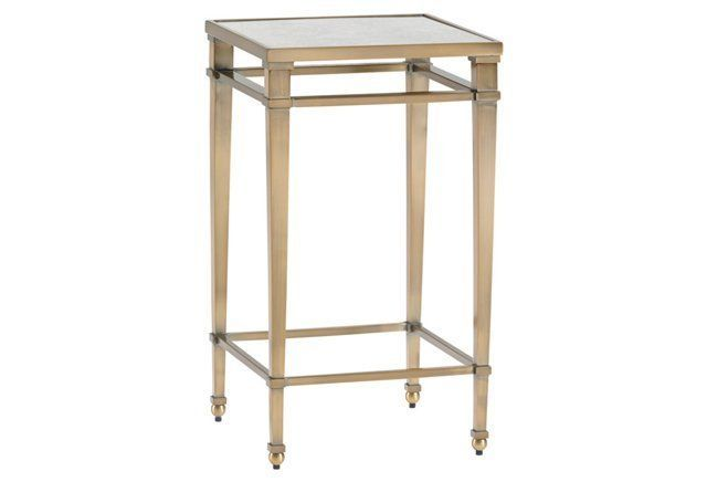 "Coville 14"" Mirrored Side Table, Brass"
