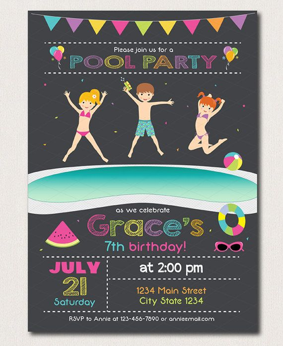 Pool Birthday Invitation Pool Party Invite Pool by PixeleenDesigns