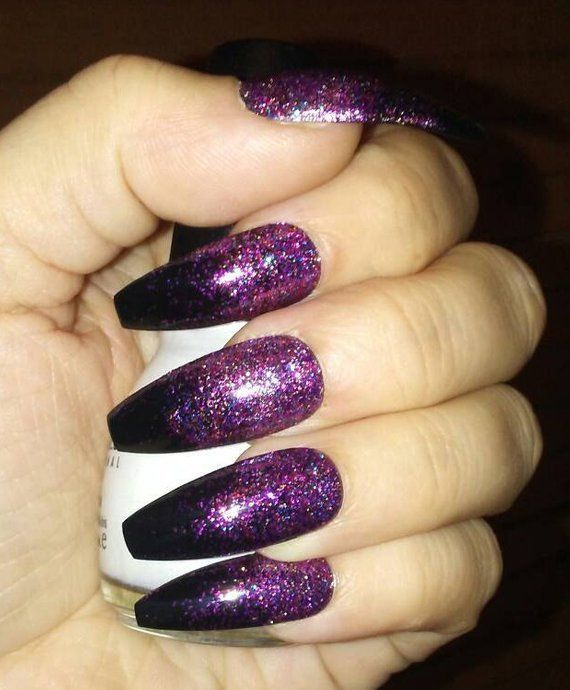 Black Coffin Nails W Pink Purple Glitter Long Or Short Etsy Purple Glitter Nails Purple Acrylic Nails Black And Purple Nails