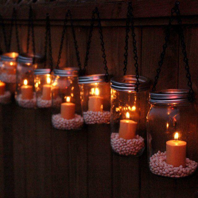 Mason Jar Lanterns Hanging Tea Light Luminaries Set Of 10