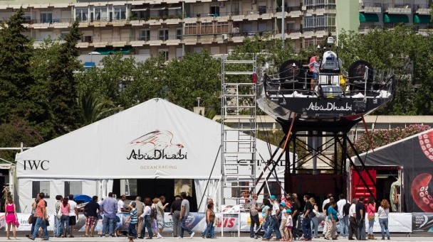 Crowds look on at the Abu Dhabi Ocean Racing team bases in the Lisbon Race Village - IAN ROMAN/Volvo Ocean Race