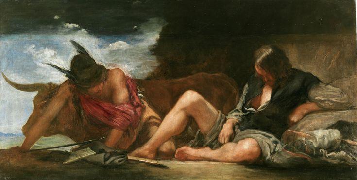 """Mercurio y Argos (h 1659) VELÁZQUEZ. El asunto, tomado de la """"Metamorfosis"""" de Ovidio, muestra el momento en que Mercurio; que había sido enviado por Júpiter para hacerse con la bella ninfa Io, convertida en vaca; ha dormido con su música al pastor Argos y se está acercando sigilosamente para acabar con él. https://www.facebook.com/museonacionaldelprado/posts/10154764308028363:0"""