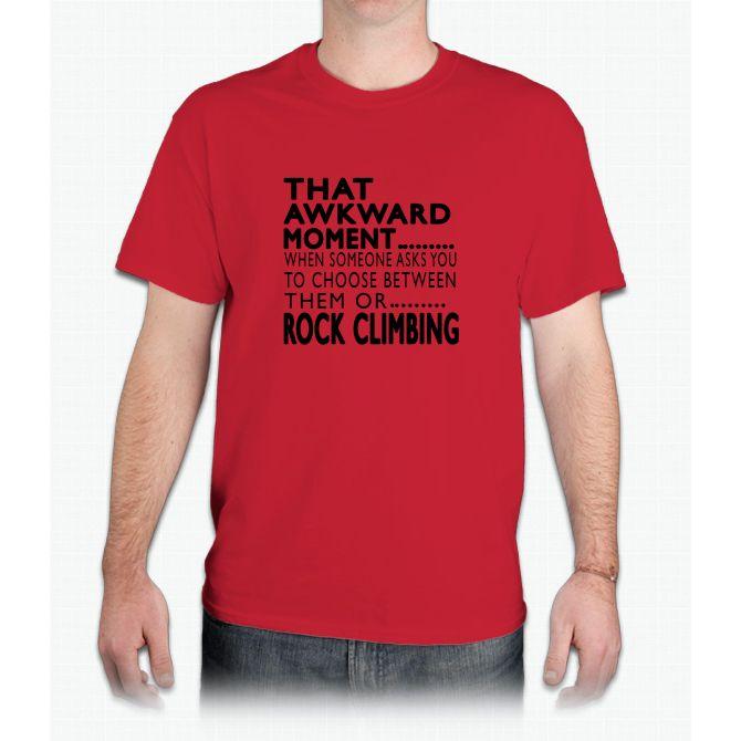Rock Climbing Awkward Moment Designs - Mens T-Shirt