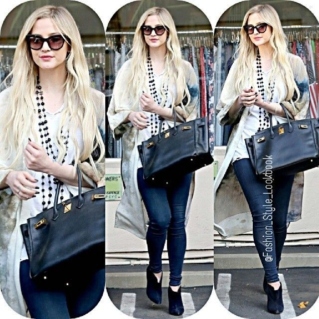 #ashleesimpson #hermes #bag #love #her #pieces #me #piecesofme #shadow #monday #tuesday #arms #breath #song #debut #music #lipsync #stage #lol #omg #shades #denim #jeans #fashion #style #lookbook... - Celebrity Fashion
