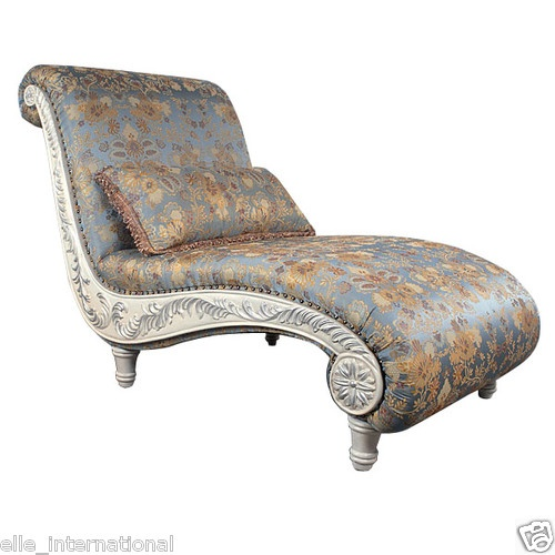 Large Chaise Lounge w French Blue Floral Fabric Mahogany New Free Shipping | eBay  sc 1 st  Pinterest : new chaise lounge - Sectionals, Sofas & Couches