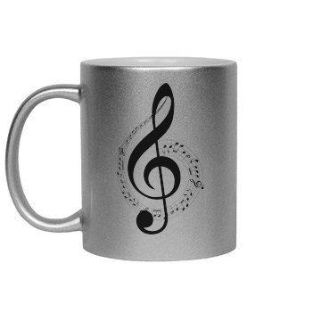 #BlackTrebleClef #MusicNotesSwirl #SilverMetallic #CoffeeMug by #MoonDreamsDesigns #MoonDreamsMusic