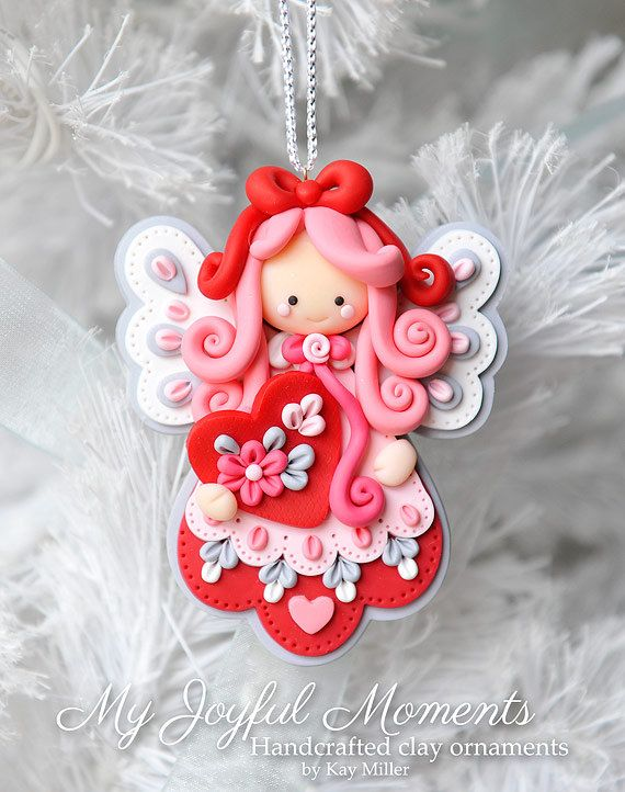 Handcrafted Polymer Clay Angel Ornament - made by Etsy seller My Joyful Moments.