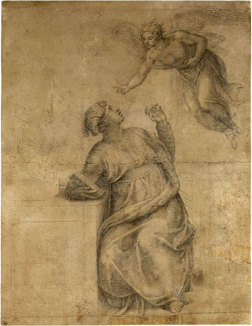 Michelangelo Buonarroti (1475–1564) Annunciation to the Virgin Black chalk, outlines indented  This drawing represents Michelangelo's design for an altarpiece commissioned around 1547 for the Cesi family chapel in Santa Maria della Pace, Rome.