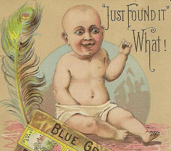 Blue Grass Plug Tobacco Victorian Trade Card by TheOldBarnDoor --- Um, sorry, I just had to share this one.  It's a tobacco advertisement. Um..Kids don't change.  But, advertisement sure does.