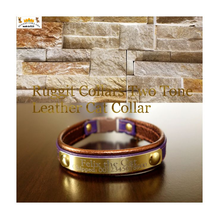 Leather two tone cat collar. Sign up for discount here:  http://eepurl.com/bURzEv Personalized cat collar customized with engraved lightweight metal plate-choose your colors by Ruggit Collars.  Enter email here for discount: http://eepurl.com/bURzEv