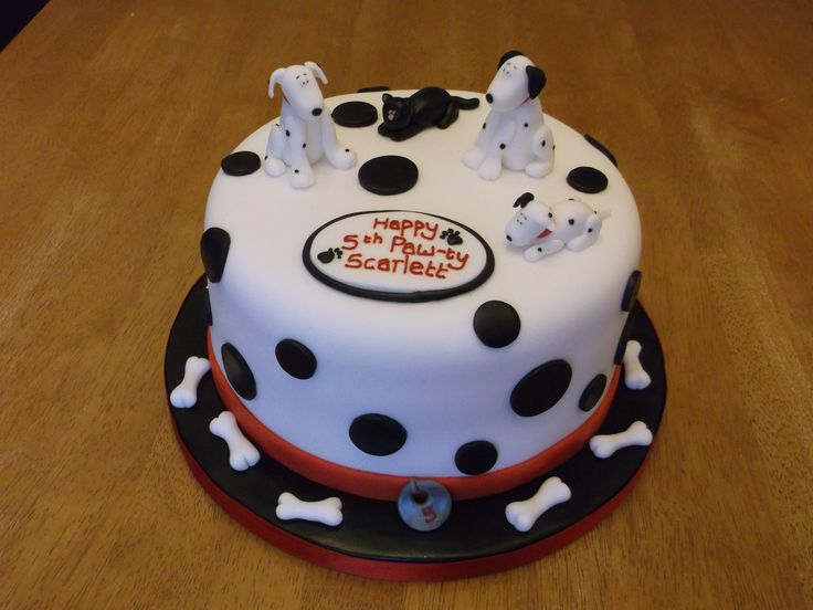 Children's Birthday Cakes - A last minute order for a Birthday party with dalmations and a black cat on the top x