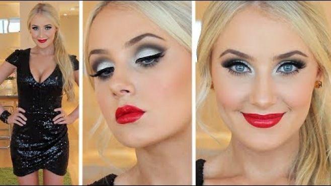 Yılbaşı İçin Işıltılı Gri Göz Makyajı Ve Saç Modeli - Yılbaşı gece için uygulayabileceğiniz ışıltılı gri göz makyajı ve saç modeli tekniği (New Year Makeup Hair Video)