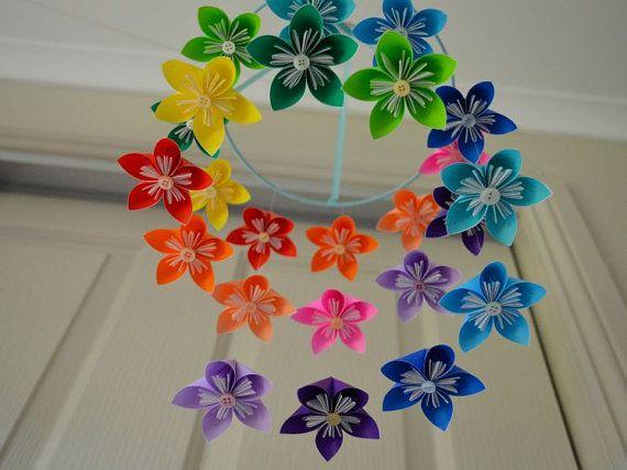 Rainbow Kusudama Flower Origami Baby Mobile