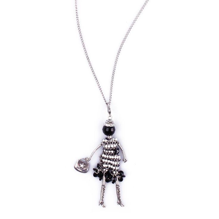 Sautoir Poupée Cabaret argent blanche noire et perles noires