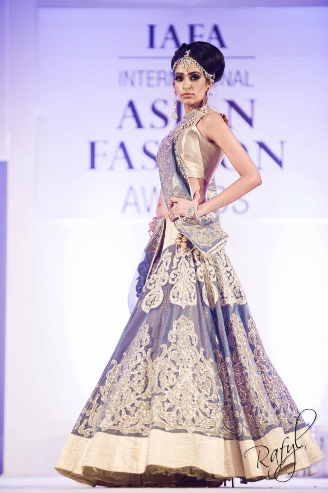 Blue and gold lehnga