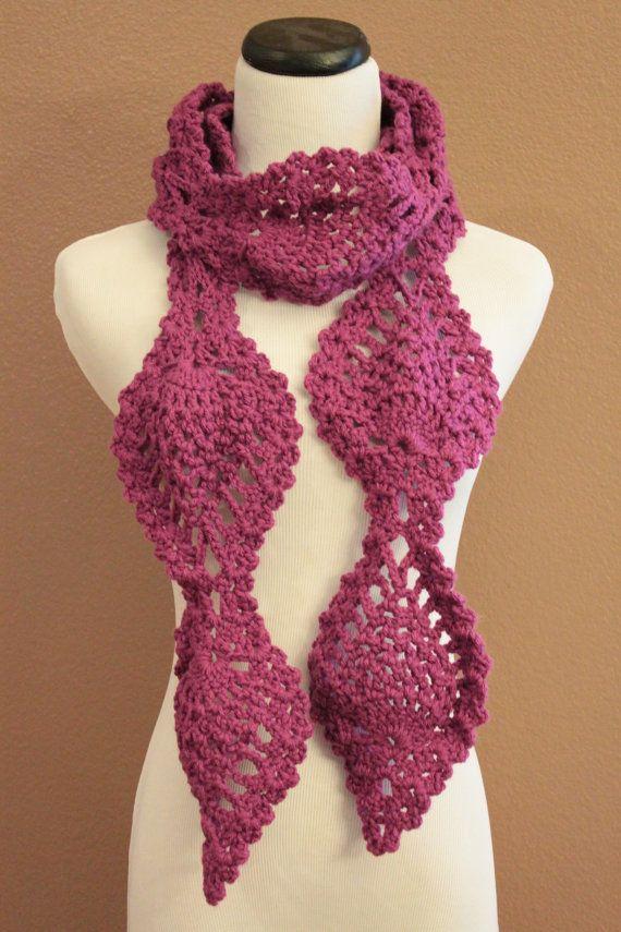Chunky Scarf Crochet Pineapple Lace Motif Magenta