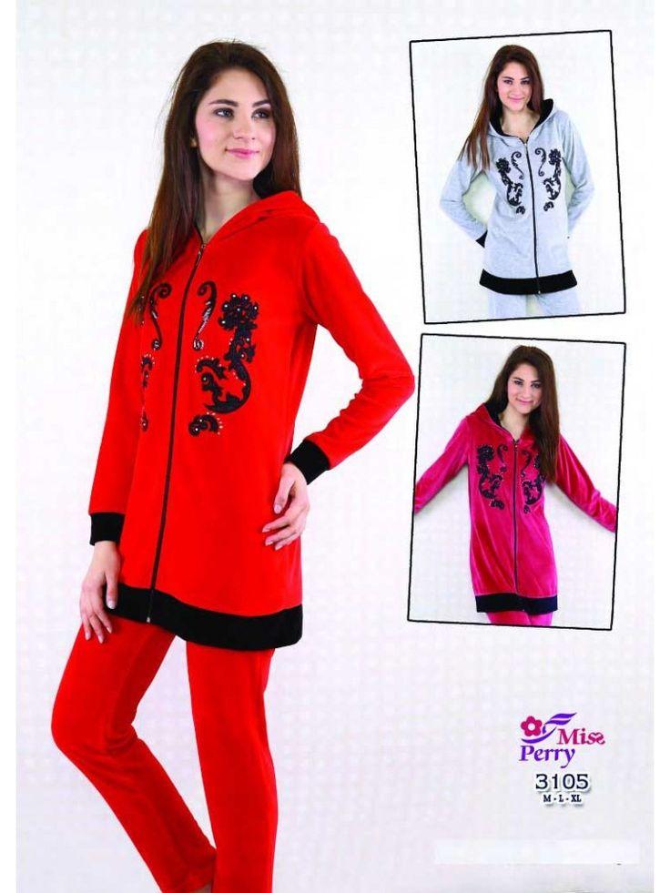 Fermuarlı Kadife Pijama Takımı 3105