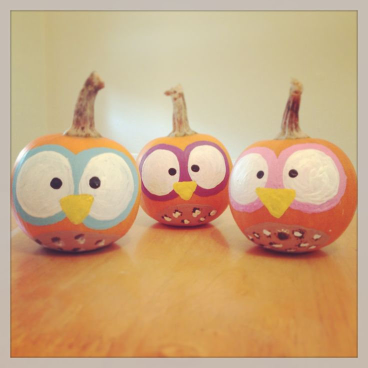 Finished product :)  Owl pumpkins, pumpkin painting, arts & crafts, DIY