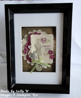 Sally's Stamping Delights. Framed.