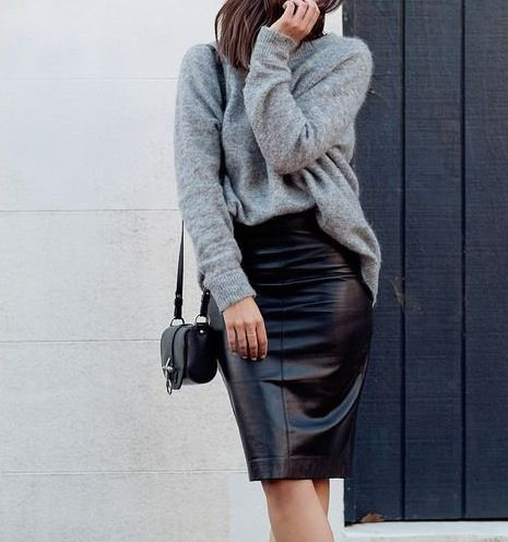 Grey jumper and black leather skirt.  Visit www.ofvogueandrestraint.wordpress.com for tips on how to revamp and upgrade your wardrobe.