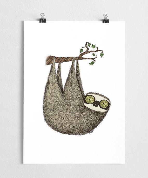 Deal of the week Sloth art print animal art cute by agrapedesign