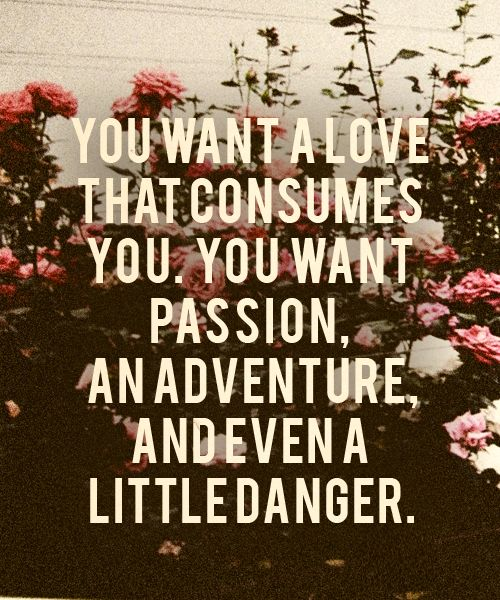You want a love that consumes you. You want passion, an adventure, and even a little danger.